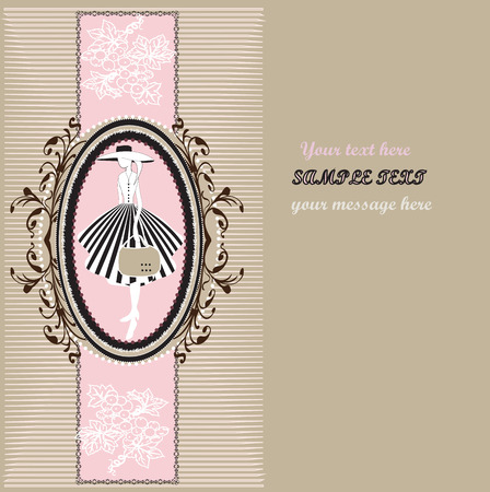 Vintage invitation card with ornate elegant retro abstract floral design, lady in striped skirt with hat and bag on ellipse frame with grapes and brown flowers and leaves on pink ribbon on brownish gray background with text label. Vector illustration. Vector