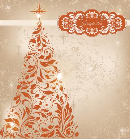 華やかなエレガントなレトロな抽象的な花柄のデザインで、暗いオレンジ色の花の木と星のゴールドの背景にビンテージのクリスマス カード。ベク