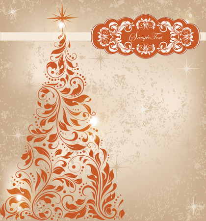 Vintage Christmas card with ornate elegant retro abstract floral design, dark orange flowers on gold background with tree and stars. Vector illustration.