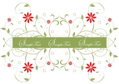 scroll border: Background with banner for your text and spring flowers Illustration