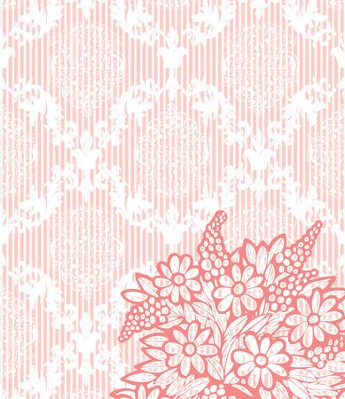 Vintage background with ornate elegant retro abstract floral design, coral pink flowers on pale orange background with stripes. Vector illustration.