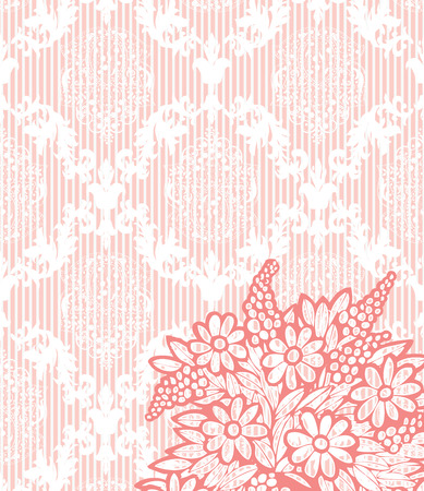 Vintage background with ornate elegant retro abstract floral design, coral pink flowers on pale orange background with stripes. Vector illustration.