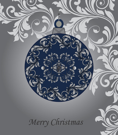 Vintage Christmas card with ornate elegant abstract floral design, midnight blue ball with bluish gray flowers on gray background. Vector illustration. Illustration