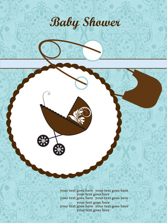 vintage baby: Vintage baby shower invitation card with ornate elegant retro abstract floral design, aquamarine blue flowers with brown baby carriage on cake and safety pin. Vector illustration. Illustration