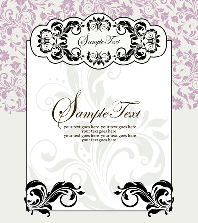 pale green: Vintage invitation card with ornate elegant abstract floral design, black and lilac pink flowers on pale green background with frame. Vector illustration.