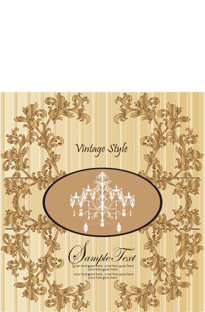 Vector vintage styled card with floral ornament background