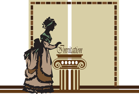 fashion design: Lady in old fashioned clothing on beige gray frame with light brown dark brown dashed border design with greek column. Vector illustration.