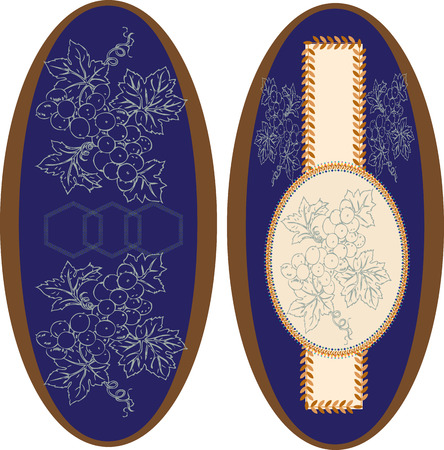 ellipses: Set of two (2) vintage ellipse frames with ornate elegant retro abstract floral design, grape fruits and leaves on royal blue background with brown border. Vector illustration.