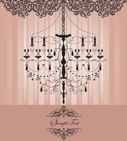 Vintage invitation card with ornate elegant retro abstract floral design, dark gray flowers and leaves on striped faded light pink background with chandelier and text label. Vector illustration. 矢量图像