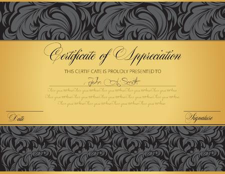 Vintage certificat d'appréciation avec élégante conception abstraite rétro fleuri floral, fleurs gris foncé et laisse sur fond noir et or avec tri-section. Vector illustration. Banque d'images - 38094790