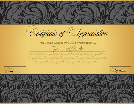 certification: Vintage certificate of appreciation with ornate elegant retro abstract floral design, dark gray flowers and leaves on black and gold background with tri-section. Vector illustration. Illustration