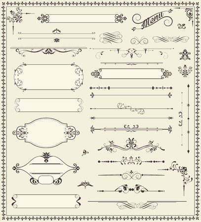 decorative: Various vintage label and border elements with ornate elegant retro abstract floral design, dark gray flowers and leaves on pale green background. Vector illustration.
