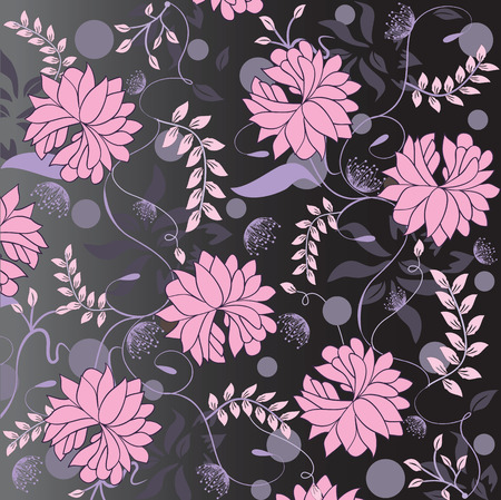 Vintage background with ornate elegant retro abstract floral design, pink and violet flowers and leaves on dark gray and black background. Vector illustration.