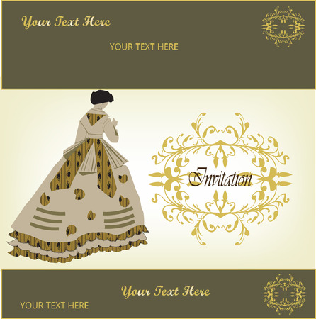 pale yellow: Vintage invitation card with ornate elegant retro abstract floral design, gold flowers and leaves on dark olive green and pale yellow background with lady in a dress and text label. Vector illustration.