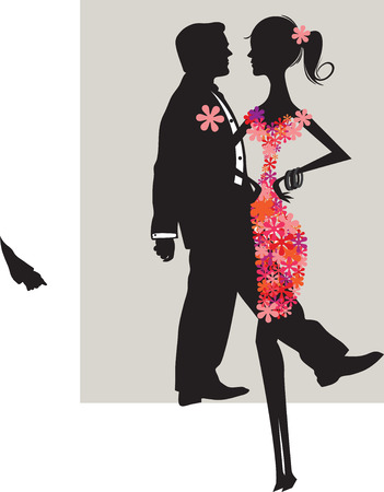 Ornate elegant retro abstract floral design, man and woman with flower dress on light gray background. Vector illustration.