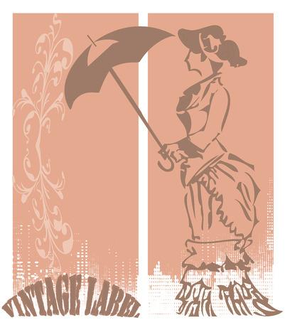retro lady: Retro lady with umbrella