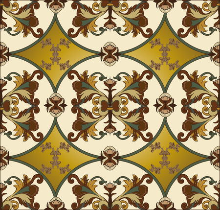pale yellow: Vintage background with ornate elegant retro abstract floral design, multi-colored flowers and leaves on pale yellow background. Vector illustration.