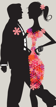 Vector Portrait of a Young Couple