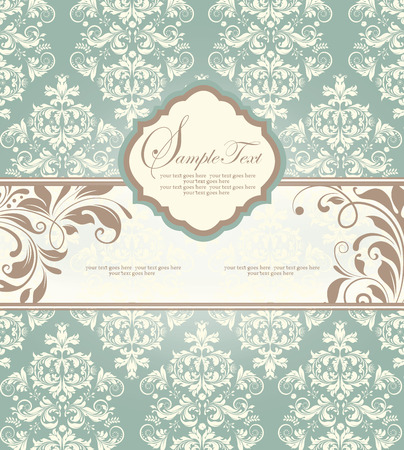 teal background: Vintage invitation card with ornate elegant abstract floral design, light brown and white flowers on teal blue background with ribbon. Vector illustration.