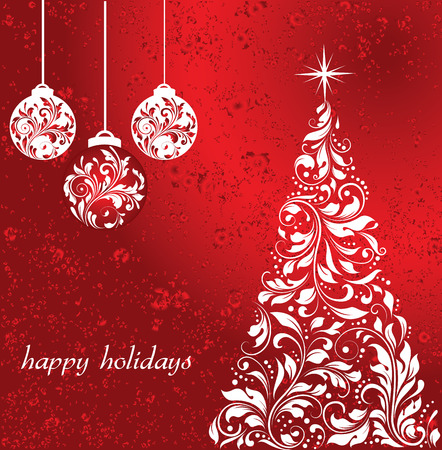 Vintage Christmas card with ornate elegant retro abstract floral design, white flowers on red background with balls and tree with star. Vector illustration. Illustration