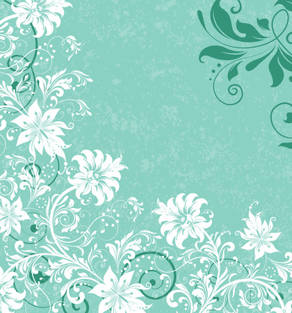 aqua flowers: Vintage background with ornate elegant retro abstract floral design, white and sea green flowers on pale aqua green background. Vector illustration.