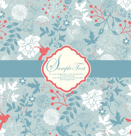carmine: Vintage invitation card with ornate elegant retro abstract floral design, multi-colored flowers on sky blue background with light blue ribbon with carmine pink birds. Vector illustration.
