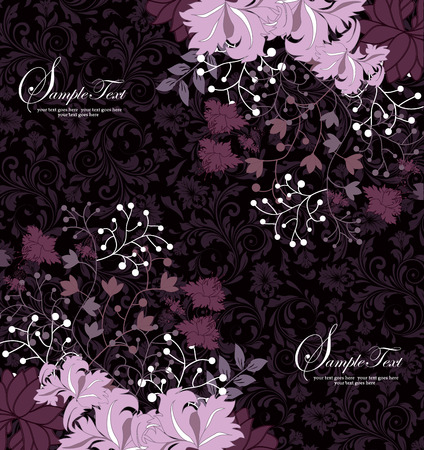 Vintage invitation card with ornate elegant retro abstract floral design, pink and purple flowers on black background. Vector illustration. Vector