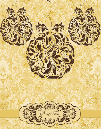 Vintage Christmas card with ornate elegant retro abstract floral design, dark brown flowers on pastel yellow background with hanging balls and ribbon. Vector illustration. Illustration