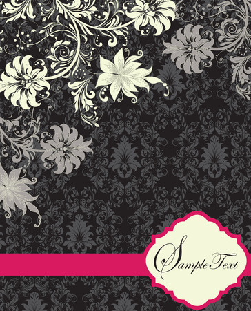 fuschia: Vintage invitation card with ornate elegant abstract floral design, white and gray flowers on gray and black background with fuschia pink ribbon. Vector illustration.