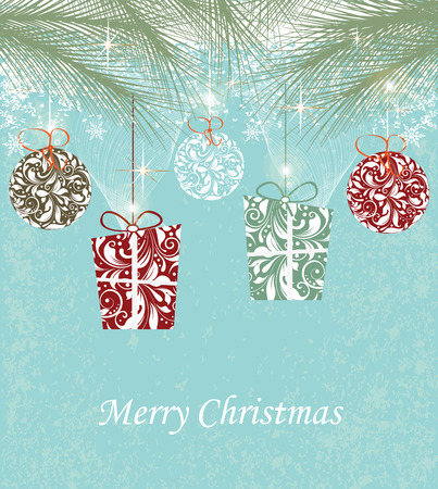 Vintage Christmas card with ornate elegant abstract floral design, gift and ball shaped flowers with pine needles stars and snowflakes on aqua blue background. Vector illustration. Illustration