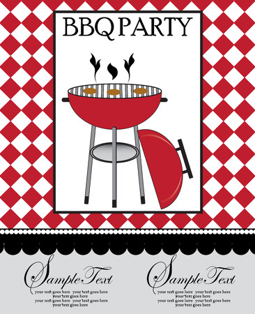 outdoor dining: Vintage barbecue party invitation card with ornate elegant retro abstract design, red barbecue grill on checkered red and white background. Vector illustration.