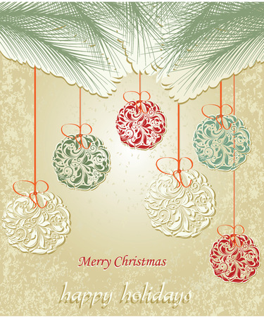 pine needles: Vintage Christmas card with ornate elegant abstract floral design, multi-colored balls with pine needles on yellow gold background. Vector illustration.