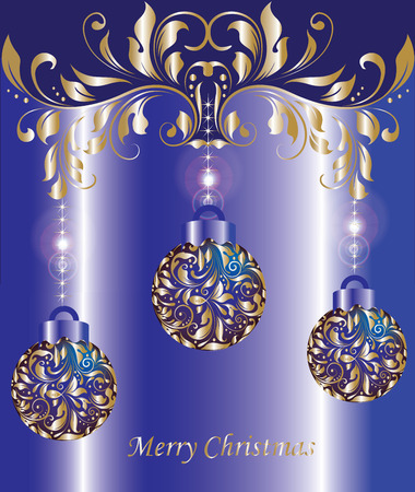 Vintage Christmas card with ornate elegant abstract floral design, shiny gold balls and flowers on royal blue background. Vector illustration. Vector