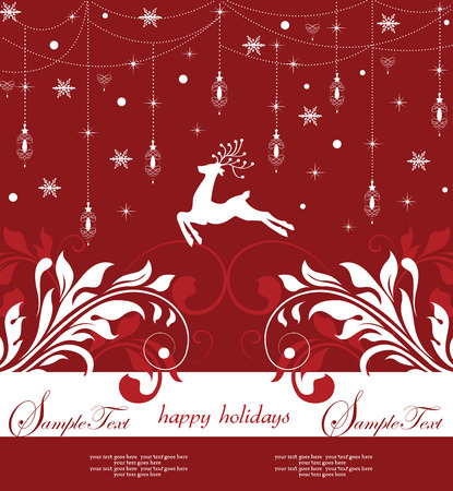 ornaments vector: Vintage Christmas card with ornate elegant abstract floral design, hanging ornaments with red and white flowers and reindeer lanterns snow snowflakes stars and ribbon on dark red background on red background. Vector illustration.