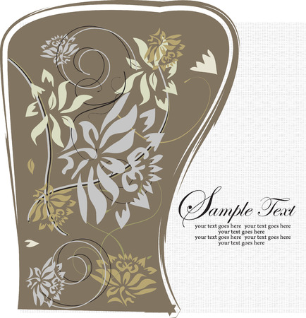 brownish: Vintage invitation card with ornate elegant retro abstract floral design, gray pale yellow and light brown flowers and leaves on brownish gray and white mesh background with text label. Vector illustration.