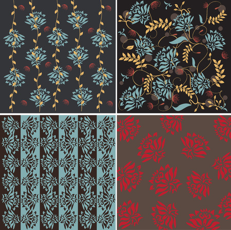 Set of four card with floral seamless pattern Illustration
