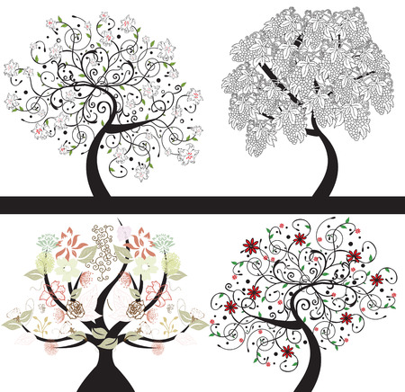 Abstract trees with floral elements