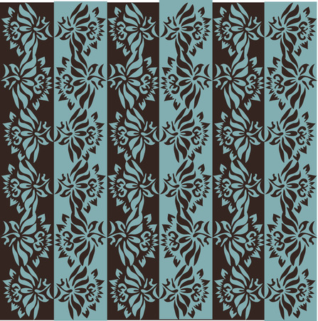 cadet blue: Vintage background with ornate elegant retro abstract floral design, cadet blue and chocolate brown flowers and leaves on chocolate brown and cadet blue background with alternating columns. Vector illustration. Illustration