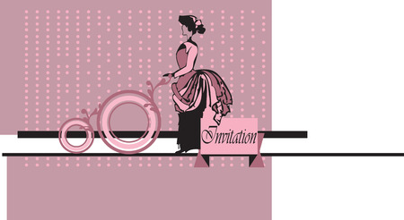 Vintage invitation card with lady in old fashioned clothing on pale purple pink background with ornate elegant retro abstract design. Vector illustration. Illustration