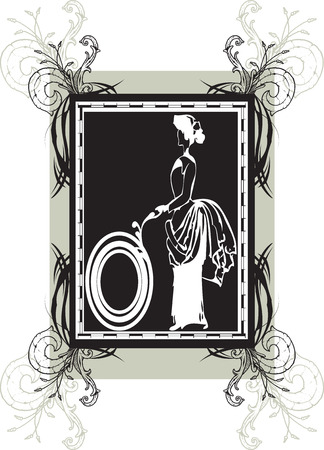 Lady in old fashioned clothing on black and gray frame with ornate elegant retro abstract floral design. Vector illustration. Stock Vector - 38099857