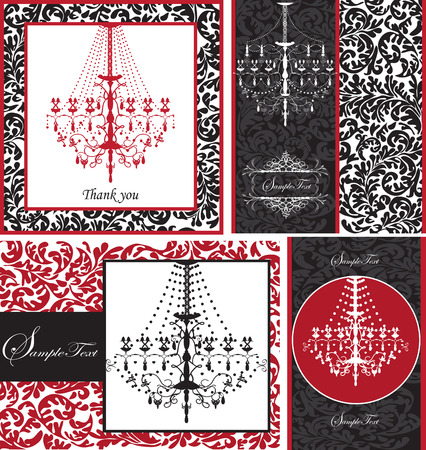 Set of four (4) vintage invitation cards with ornate elegant retro abstract floral design, white red or black flowers and leaves on white red or black background with chandelier and text label. Vector illustration. 일러스트