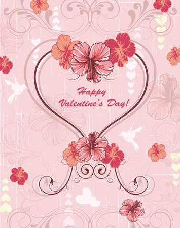 scratch card: Vintage Valentine card with ornate elegant retro abstract floral design, red and pink flowers and leaves on scratch textured light pink background with hearts birds and text label. Vector illustration. Illustration