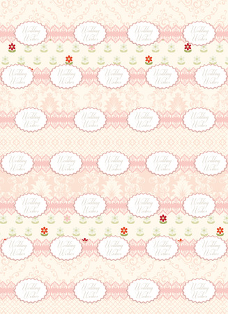 wedding wishes: Vintage background with ornate elegant retro abstract floral design, pale red and green flowers and leaves on pale yellow background and wedding wishes text label. Vector illustration. Illustration