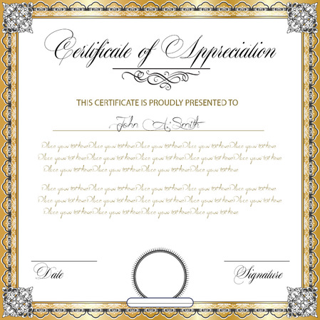 Certificate of appreciation stock photos royalty free certificate vintage certificate of appreciation with ornate elegant retro abstract floral design dark gray and white yadclub Images