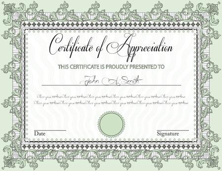 participacion: Certificado de la vendimia de apreciaci�n con dise�o adornado elegante retro abstracto floral, flores verdes y negras de laurel y hojas sobre fondo verde claro con la frontera del marco. Ilustraci�n del vector.