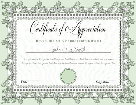 participation: Vintage certificate of appreciation with ornate elegant retro abstract floral design, black and laurel green flowers and leaves on pale green background with frame border. Vector illustration.