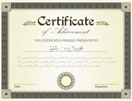 Certificado de la vendimia de logro con flores de diseño retro elegante adornado abstracto floral, negro y oro y hojas en rayas de color amarillo pálido fondo verde con el borde del marco. Ilustración del vector. Ilustración de vector