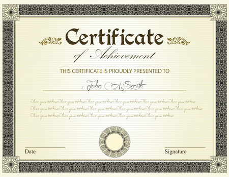 Vintage certificate of achievement with ornate elegant retro abstract floral design, black and gold flowers and leaves on striped pale yellow green background with frame border. Vector illustration.