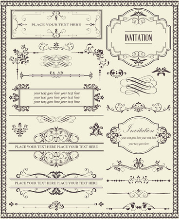 Various vintage labels border and background elements with ornate elegant retro abstract floral design, dark gray flowers and leaves on light gray background. Vector illustration.