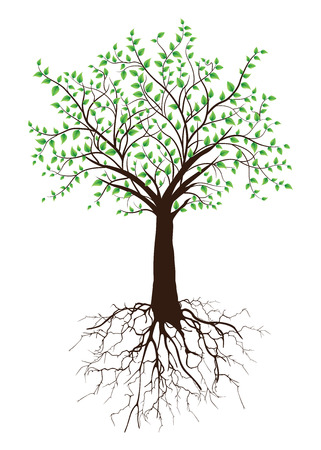 Ornate elegant retro abstract floral tree design, brown tree with roots and green leaves on white background. Vector illustration.
